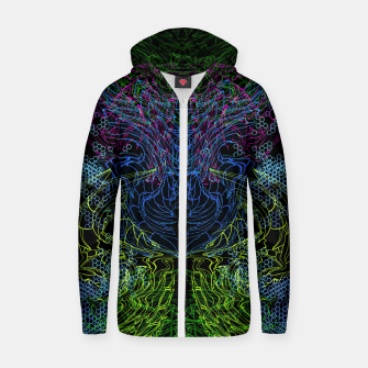 Thumbnail image of Blue Techno Dragon Zip up hoodie, Live Heroes