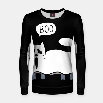 Thumbnail image of Ghost Cat Women sweater, Live Heroes