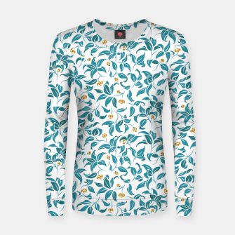 Thumbnail image of The wall of orange buds and blossoms in white Women sweater, Live Heroes