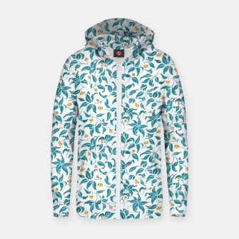 Thumbnail image of The wall of orange buds and blossoms in white Zip up hoodie, Live Heroes