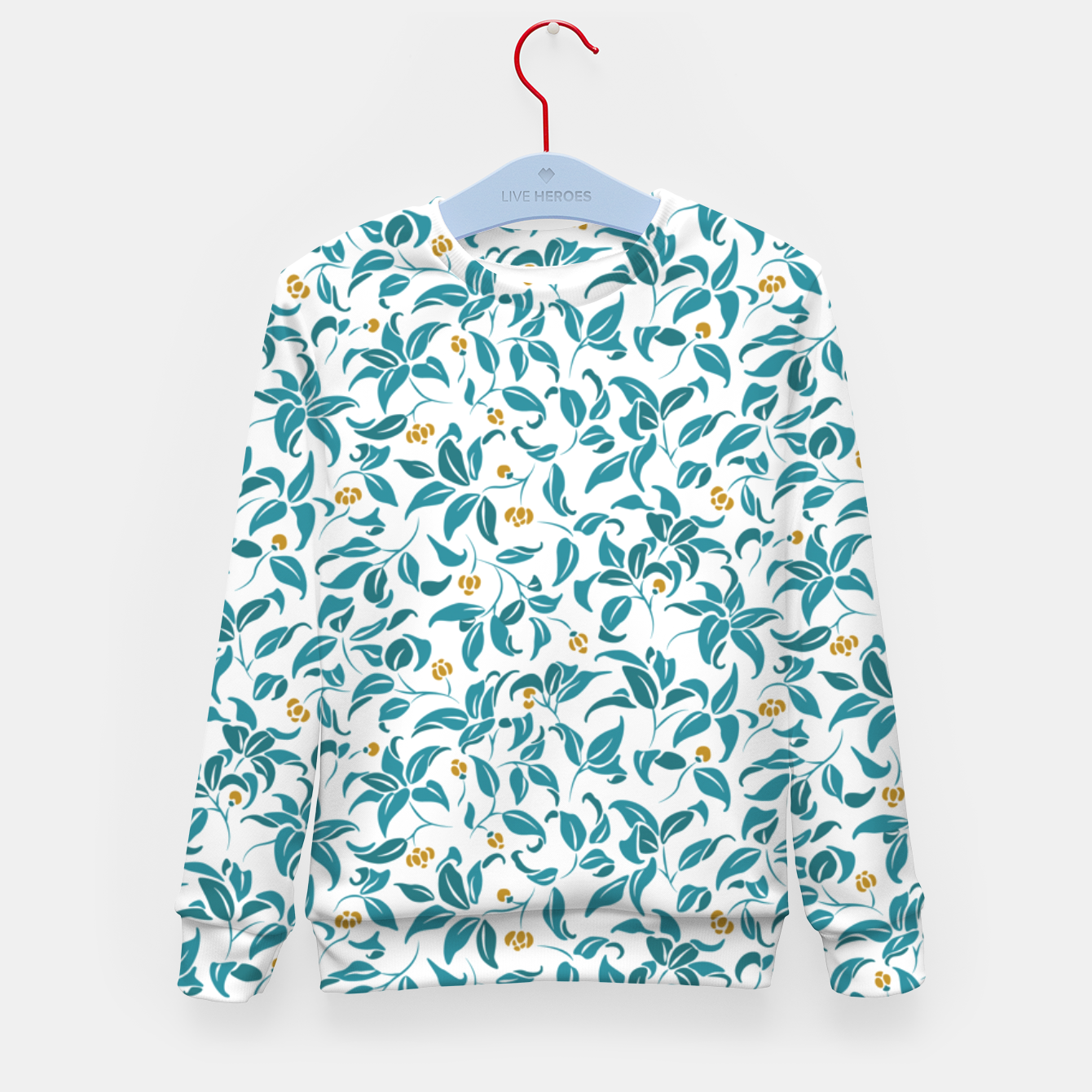 Image of The wall of orange buds and blossoms in white Kid's sweater - Live Heroes
