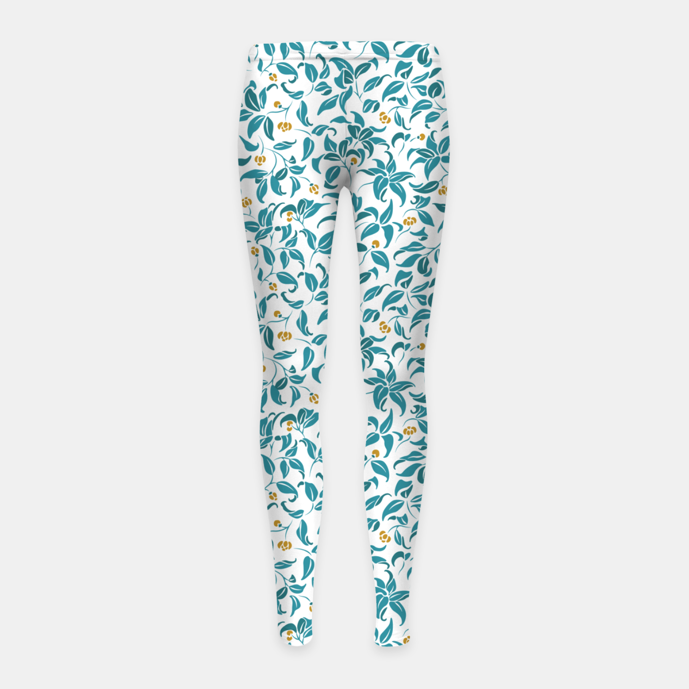 Image of The wall of orange buds and blossoms in white Girl's leggings - Live Heroes