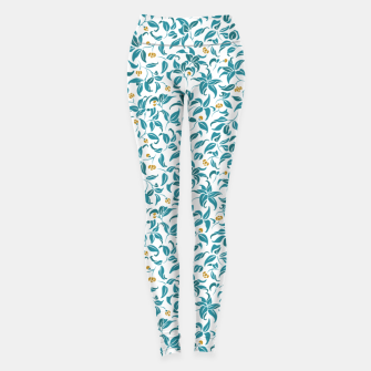 Thumbnail image of The wall of orange buds and blossoms in white Leggings, Live Heroes