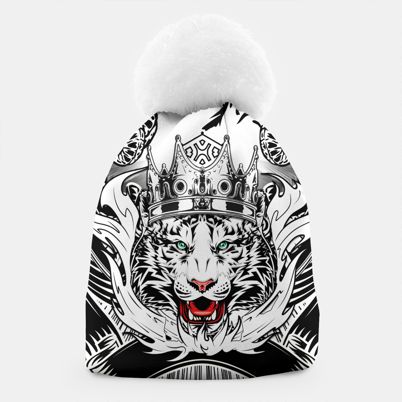 Image of White Tiger King Tiger Art Emblem by Xzendor7 Beanie - Live Heroes