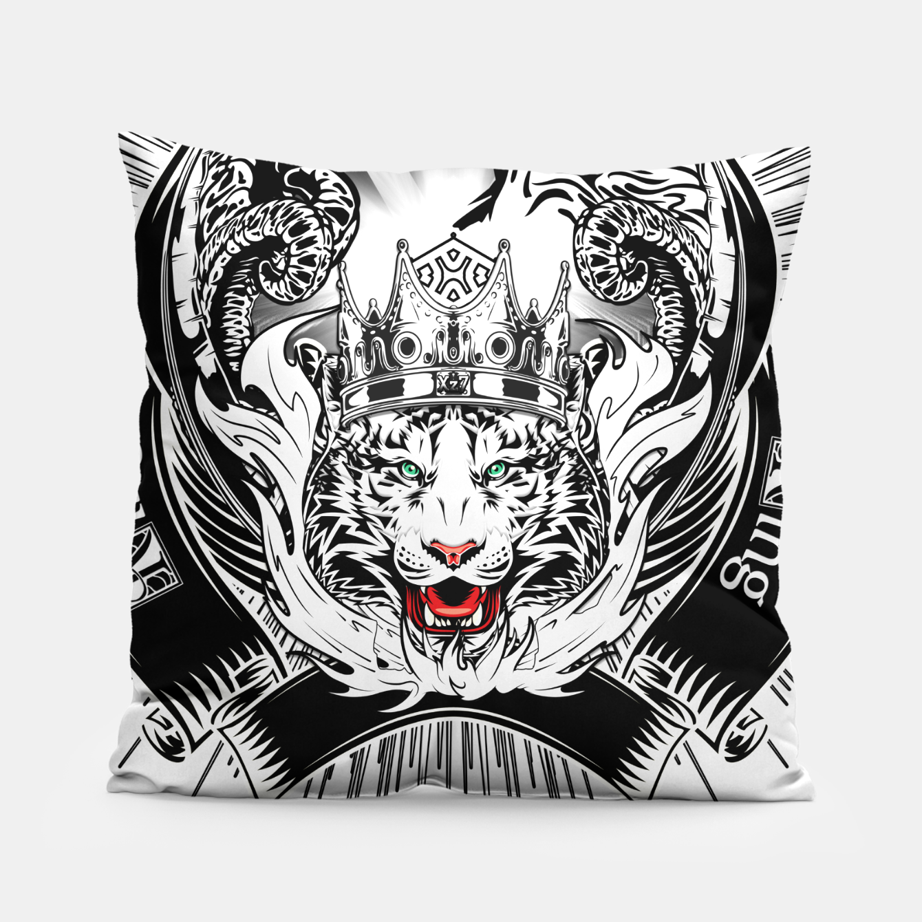 Image of White Tiger King Tiger Art Emblem by Xzendor7 Pillow - Live Heroes