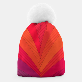 Thumbnail image of Palm tree, abstraction in hot orange peel and fuchsia colors Beanie, Live Heroes