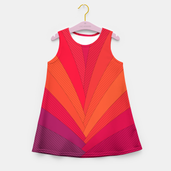 Thumbnail image of Palm tree, abstraction in hot orange peel and fuchsia colors Girl's summer dress, Live Heroes