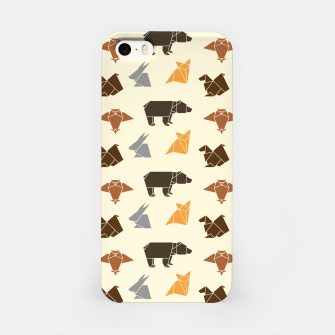 Thumbnail image of Forest animals origami print, wildlife geometric design, bear, fox, squirrel, rabbit, owl iPhone Case, Live Heroes
