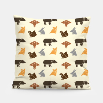 Thumbnail image of Forest animals origami print, wildlife geometric design, bear, fox, squirrel, rabbit, owl Pillow, Live Heroes