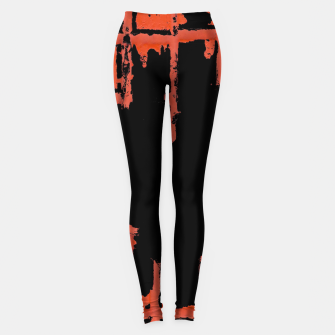 Thumbnail image of Red And Black Abstract Grunge Print Leggings, Live Heroes