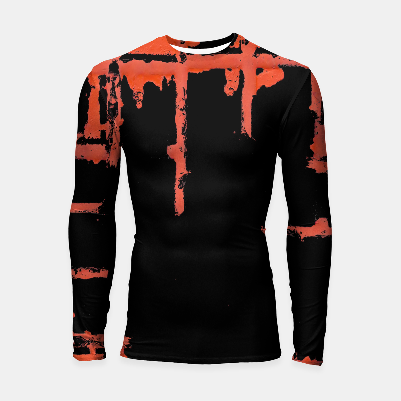 Image of Red And Black Abstract Grunge Print Longsleeve rashguard  - Live Heroes