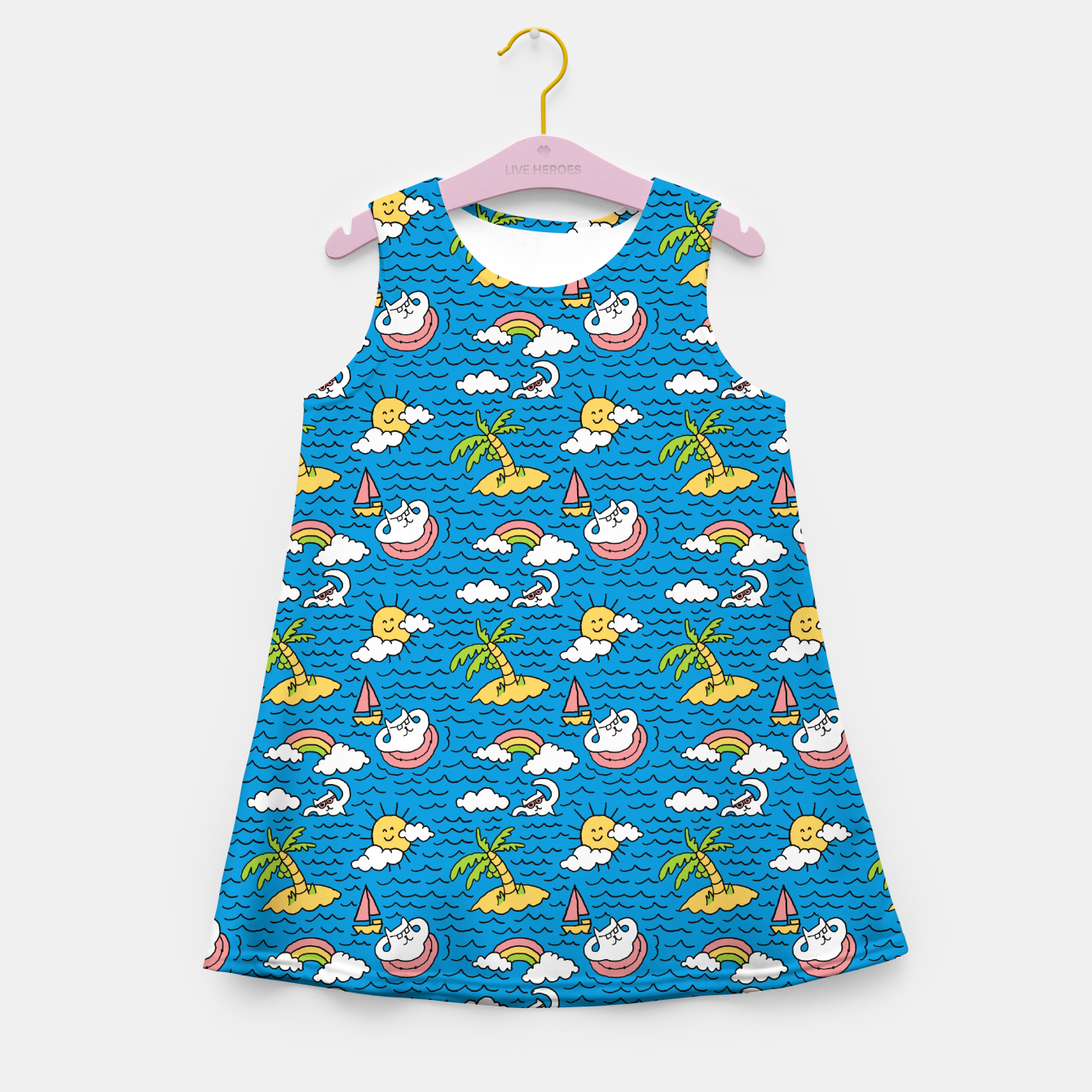 Image of Cats on Vacation Girl's summer dress - Live Heroes