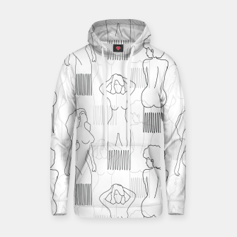 Thumbnail image of Black woman-shaped comb on white Sudadera con capucha, Live Heroes