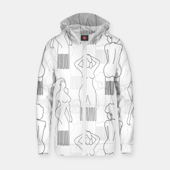 Thumbnail image of Black woman-shaped comb on white Sudadera con capucha y cremallera , Live Heroes