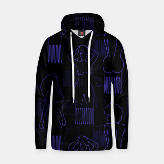 Thumbnail image of Blue woman-shaped comb on black Sudadera con capucha, Live Heroes