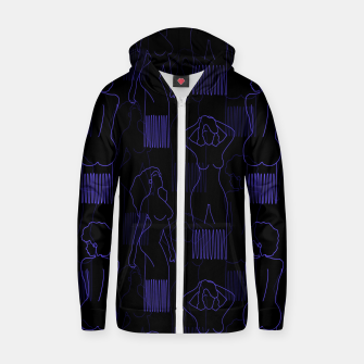 Thumbnail image of Blue woman-shaped comb on black Sudadera con capucha y cremallera , Live Heroes