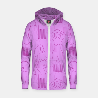 Thumbnail image of Red woman-shaped comb on pink Sudadera con capucha y cremallera , Live Heroes