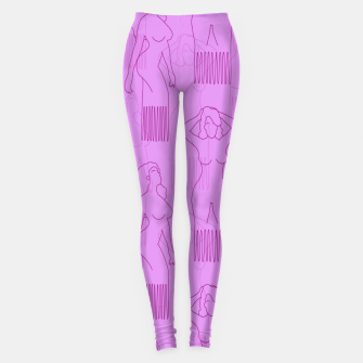 Thumbnail image of Red woman-shaped comb on pink Leggings, Live Heroes