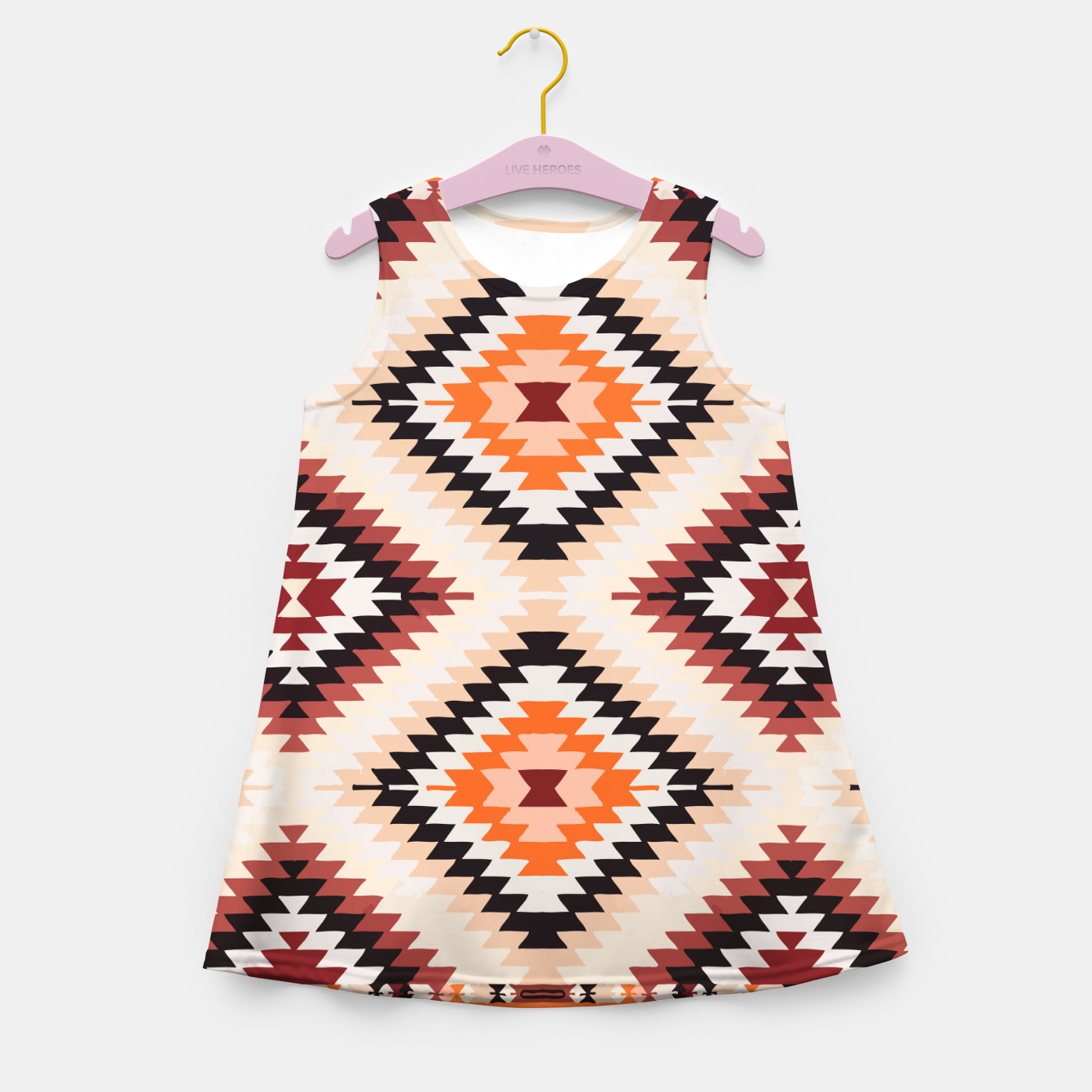 Image of Boho Southwest Oriental Traditional Geometric Style Girl's summer dress - Live Heroes