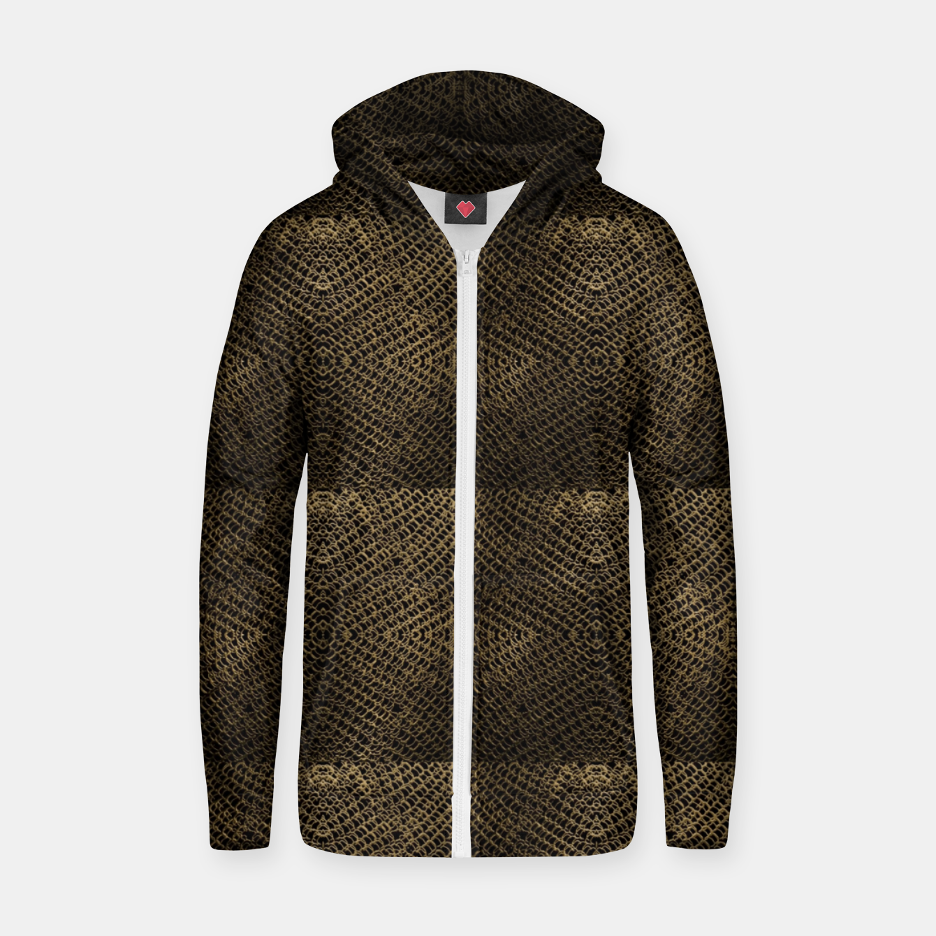 Image of Gold Chain Maille Zip up hoodie - Live Heroes