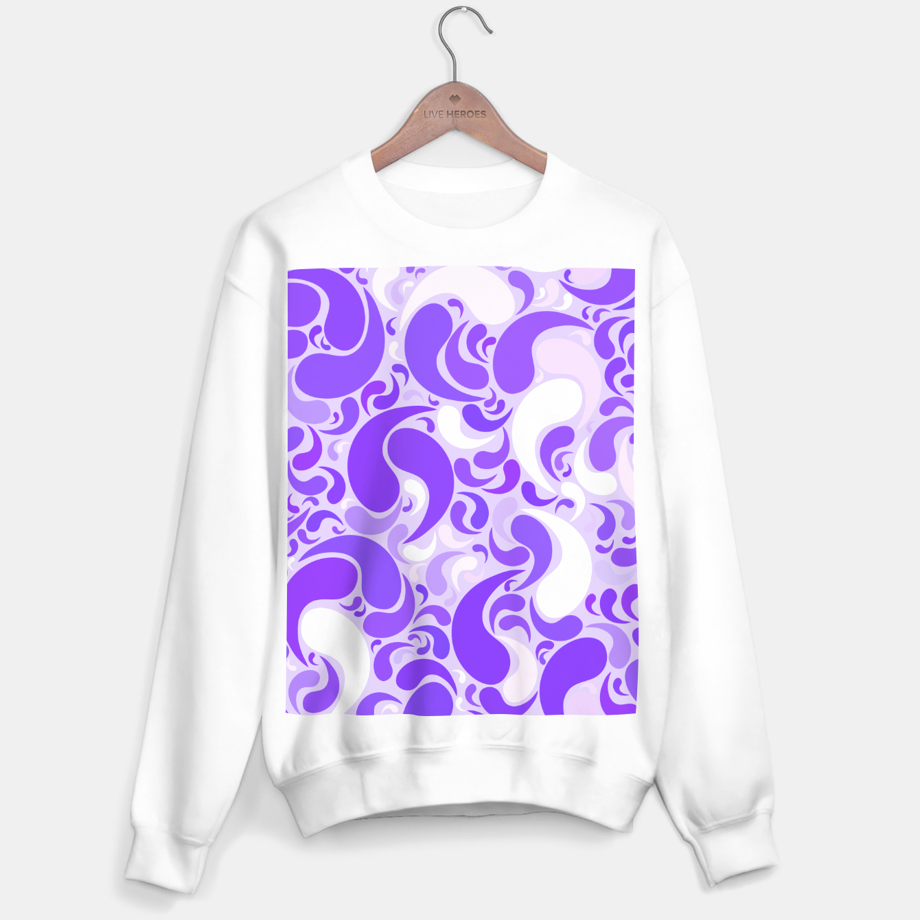 Image of Lavender dreams, violet dancing drops, geometric shapes in lilac color shades Sweater regular - Live Heroes
