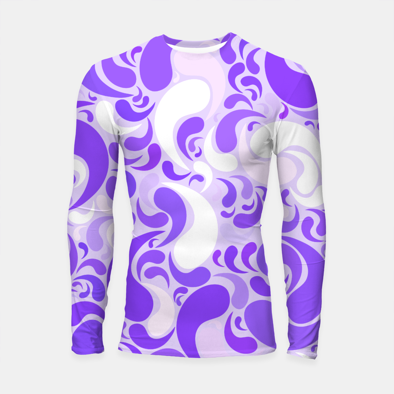 Image of Lavender dreams, violet dancing drops, geometric shapes in lilac color shades Longsleeve rashguard  - Live Heroes