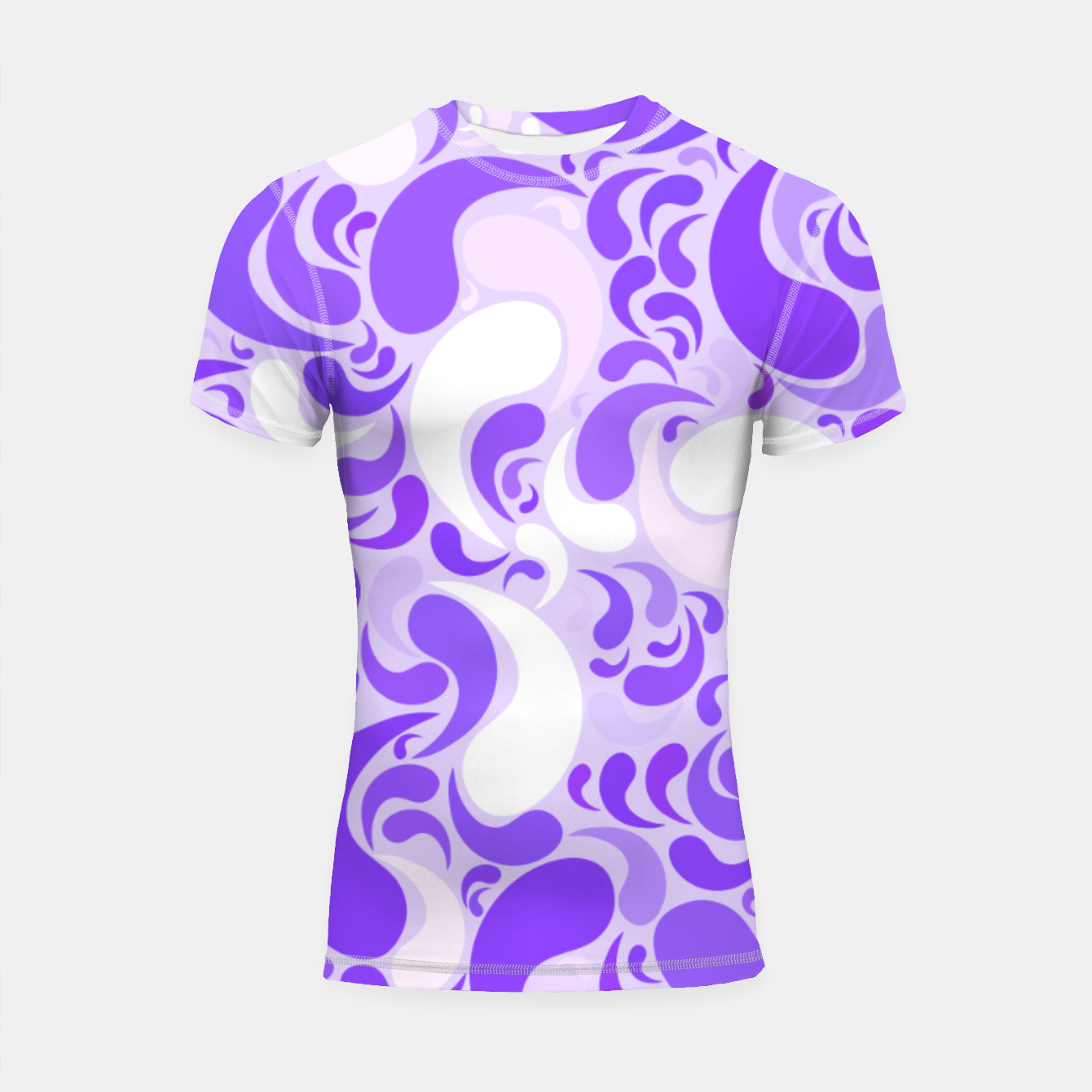 Image of Lavender dreams, violet dancing drops, geometric shapes in lilac color shades Shortsleeve rashguard - Live Heroes