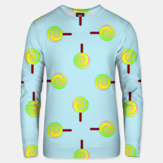 Thumbnail image of Lollipop pattern on blue Unisex sweater, Live Heroes