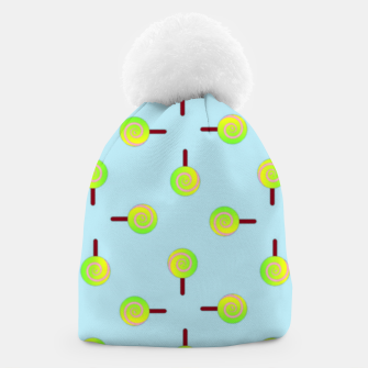 Thumbnail image of Lollipop pattern on blue Beanie, Live Heroes