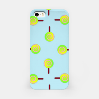 Thumbnail image of Lollipop pattern on blue iPhone Case, Live Heroes
