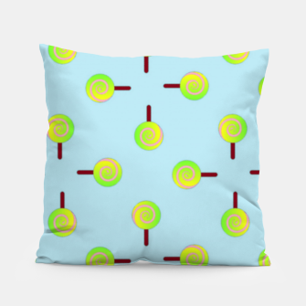 Thumbnail image of Lollipop pattern on blue Pillow, Live Heroes