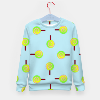 Thumbnail image of Lollipop pattern on blue Kid's sweater, Live Heroes