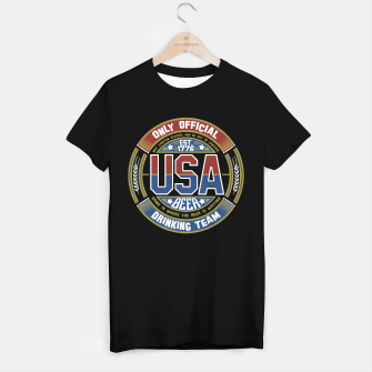 Thumbnail image of USA BEER DRINKING TEAM - OLD GLORY - Black T-Shirt Regular, Live Heroes