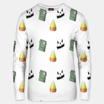 Thumbnail image of Halloween  pattern on white Unisex sweater, Live Heroes