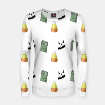 Thumbnail image of Halloween  pattern on white Women sweater, Live Heroes