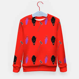 Thumbnail image of Halloween  pattern on red Kid's sweater, Live Heroes