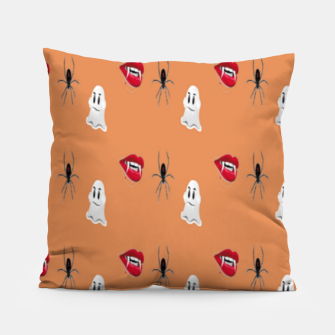 Thumbnail image of Scary halloween pattern Pillow, Live Heroes