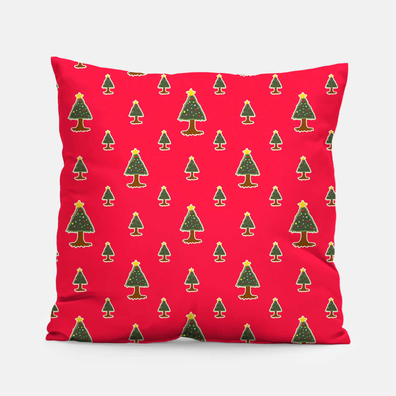 Image of Sketchy Christmas Tree Motif Drawing Pattern Pillow - Live Heroes