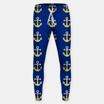 Thumbnail image of Gold anchor on blue Sweatpants, Live Heroes