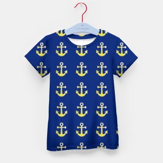 Thumbnail image of Gold anchor on blue Kid's t-shirt, Live Heroes