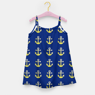 Thumbnail image of Gold anchor on blue Girl's dress, Live Heroes