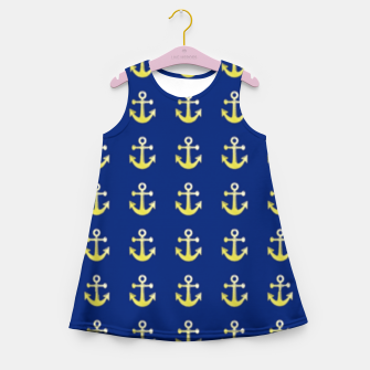 Thumbnail image of Gold anchor on blue Girl's summer dress, Live Heroes