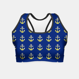 Thumbnail image of Gold anchor on blue Crop Top, Live Heroes