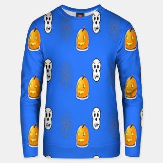 Thumbnail image of Halloween  pattern on blue Unisex sweater, Live Heroes