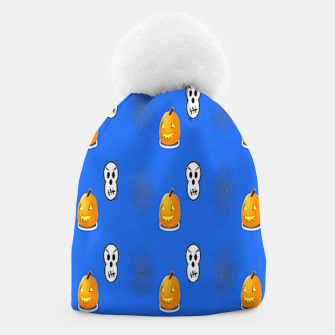 Thumbnail image of Halloween  pattern on blue Beanie, Live Heroes