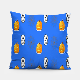 Thumbnail image of Halloween  pattern on blue Pillow, Live Heroes