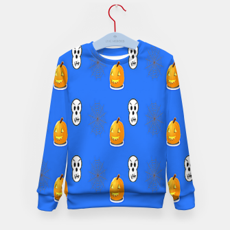 Thumbnail image of Halloween  pattern on blue Kid's sweater, Live Heroes