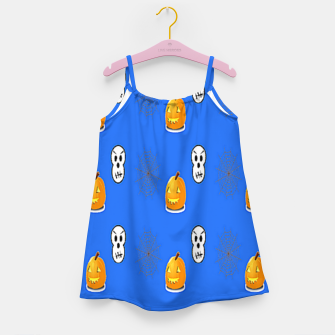 Thumbnail image of Halloween  pattern on blue Girl's dress, Live Heroes