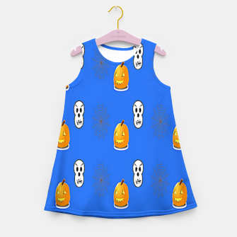 Thumbnail image of Halloween  pattern on blue Girl's summer dress, Live Heroes