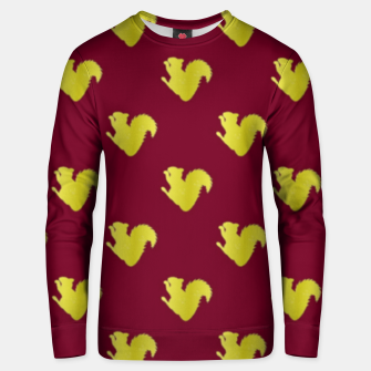 Thumbnail image of Gold squirrel on red Unisex sweater, Live Heroes